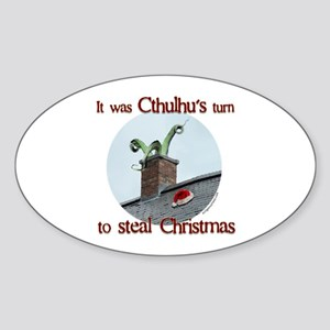 Cthulhu stole christmas Oval Sticker