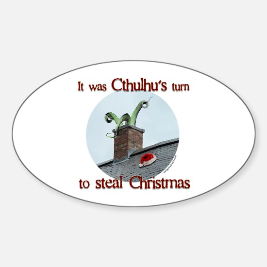Cthulhu stole christmas Oval Decal