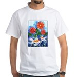 Fish and Flowers Art White T-Shirt