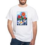Fish and Flowers Art White T-Shirt