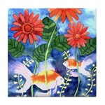 Fish and Flowers Art Tile Coaster