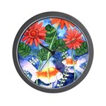 Fish and Flowers Art Wall Clock