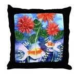 Fish and Flowers Art Throw Pillow