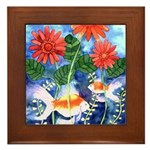 Fish and Flowers Art Framed Tile