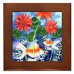Fish and Flowers Art Framed Tile