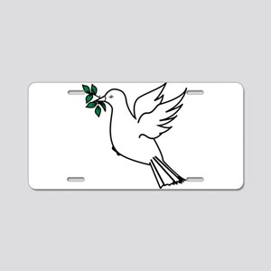 Dove and olive branch 3 Aluminum License Plate