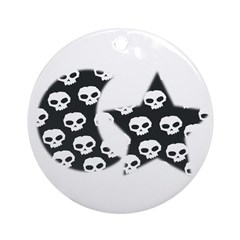 MOON AND STAR SKULL LOOK Ornament (Round)