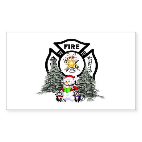 Fire Dept Christmas Sticker (Rectangle)