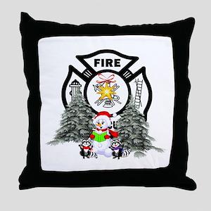 Fire Dept Christmas Throw Pillow