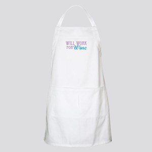 Will Work for Wine BBQ Apron