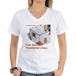 Bush Libary Women's V-Neck T-Shirt