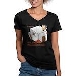 Bush Libary Women's V-Neck Dark T-Shirt