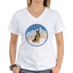 Clouds (#3) & Willi Women's V-Neck T-Shirt
