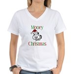 Mooey Christmas Women's V-Neck T-Shirt