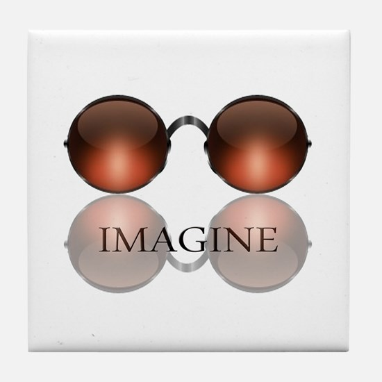 Imagine Rose Colored Glasses Tile Coaster