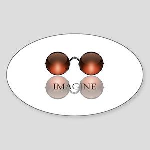 Imagine Rose Colored Glasses Oval Sticker