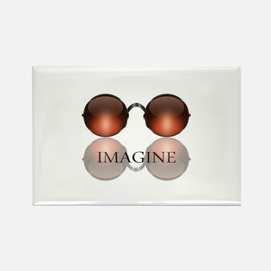 Imagine Rose Colored Glasses Rectangle Magnet