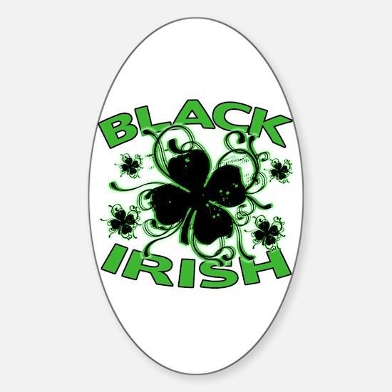 Black Shamrocks Black Irish Sticker (Oval)