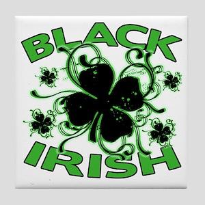 Black Shamrocks Black Irish Tile Coaster