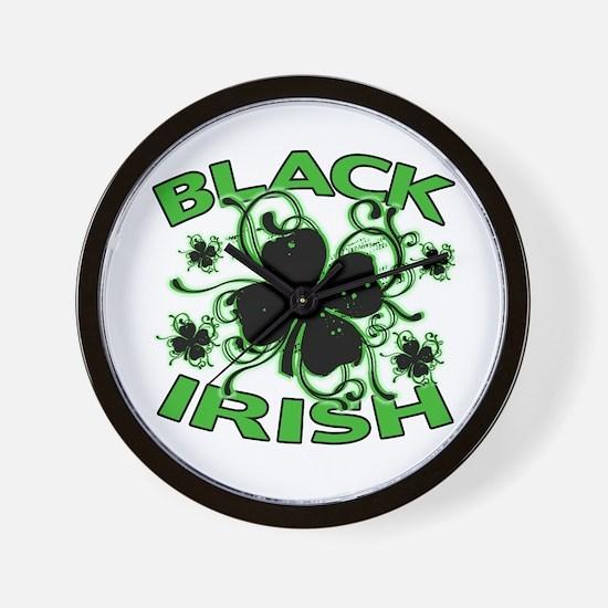 Black Shamrocks Black Irish Wall Clock