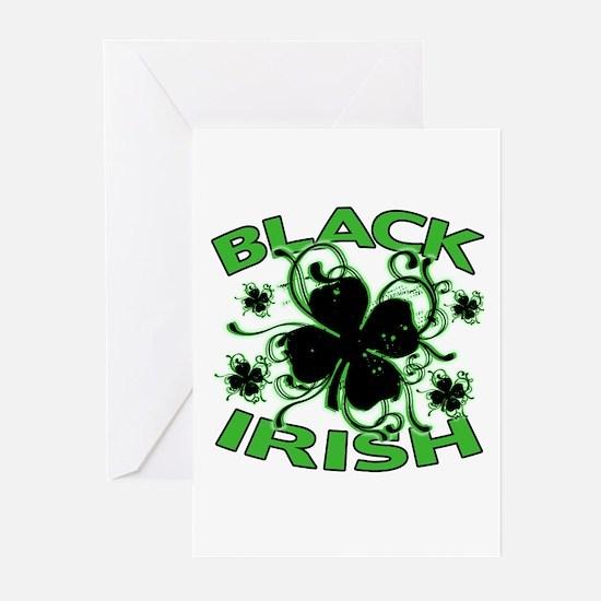 Black Shamrocks Black Irish Greeting Cards (Pk of
