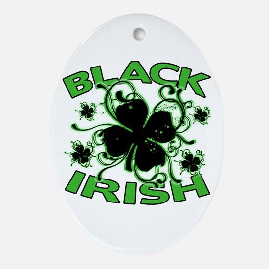 Black Shamrocks Black Irish Ornament (Oval)