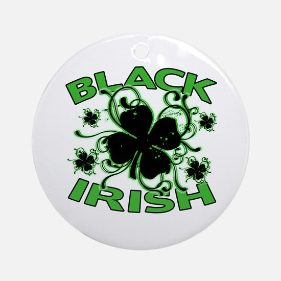 Black Shamrocks Black Irish Ornament (Round)