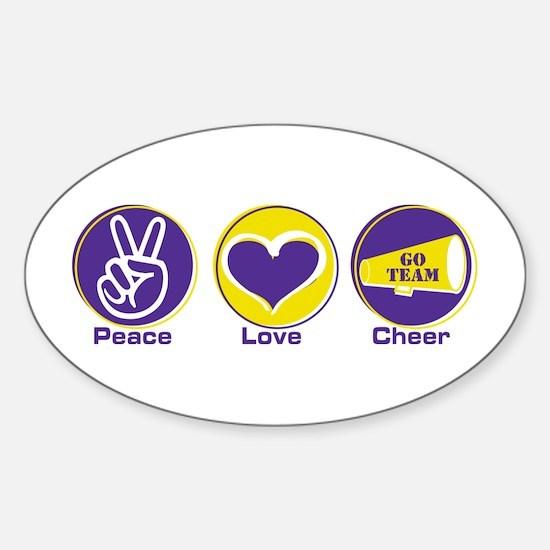 Peace Love Cheer PurYel Sticker (Oval)