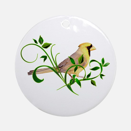 Yellow Cardinal Ornament (Round)