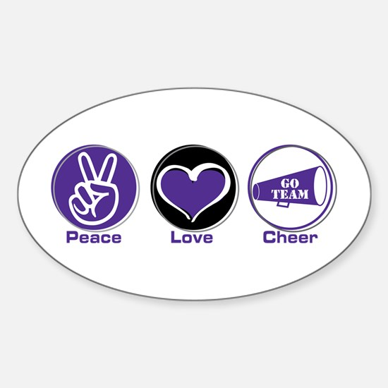 Peace Love Cheer Pur Sticker (Oval)