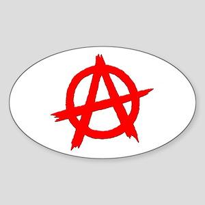 Anarchy Symbol Red Oval Sticker