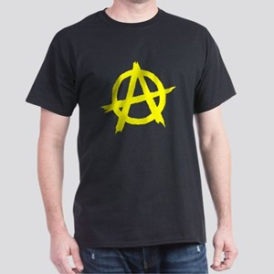 Anarchy Symbol Yellow Dark T-Shirt