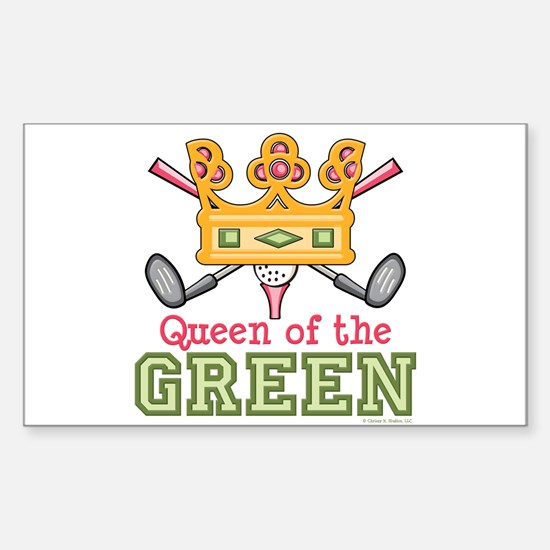 Queen of the Green Golf Rectangle Decal