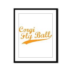 Corgi Fly Ball Framed Panel Print