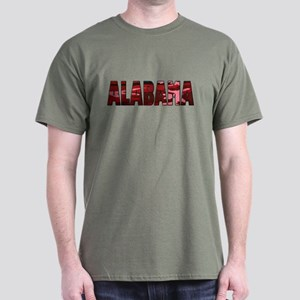 Red Camo Alabama Military Green T-Shirt