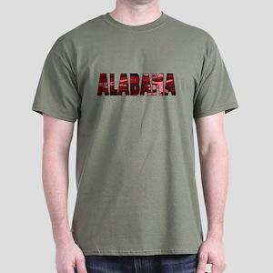 Red Camo Alabama Military Green T-Shirt