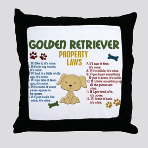 Golden Retriever Property Laws 4 Throw Pillow