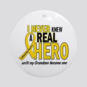 Never Knew A Hero 2 GOLD (Grandson) Ornament (Roun