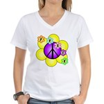 Peace Blossoms /purple Women's V-Neck T-Shirt
