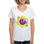 Peace Blossoms /purple Women's V-Neck T-Shirt
