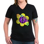 Peace Blossoms /purple Women's V-Neck Dark T-Shirt