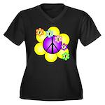 Peace Blossoms /purple Women's Plus Size V-Neck Da