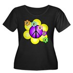 Peace Blossoms /purple Women's Plus Size Scoop Nec