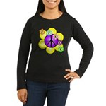 Peace Blossoms /purple Women's Long Sleeve Dark T-