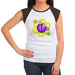 Peace Blossoms /purple Women's Cap Sleeve T-Shirt