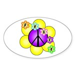 Peace Blossoms /purple Oval Sticker (10 pk)