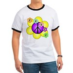 Peace Blossoms /purple Ringer T
