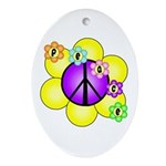 Peace Blossoms /purple Oval Ornament