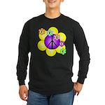 Peace Blossoms /purple Long Sleeve Dark T-Shirt