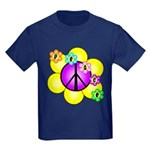 Peace Blossoms /purple Kids Dark T-Shirt